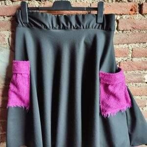 gonna in jersey con tasche in lana cotta